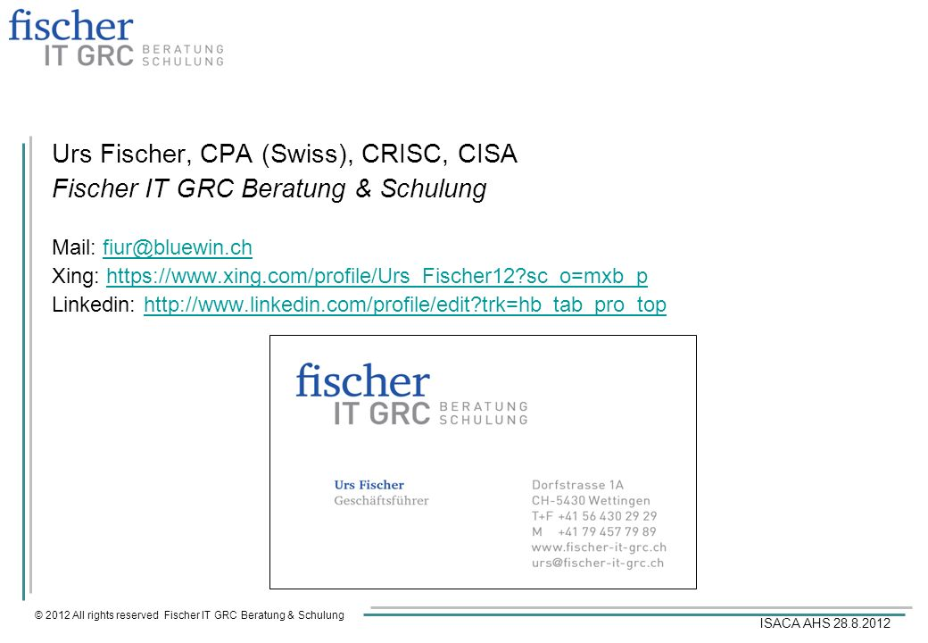 Urs Fischer, CPA (Swiss), CRISC, CISA