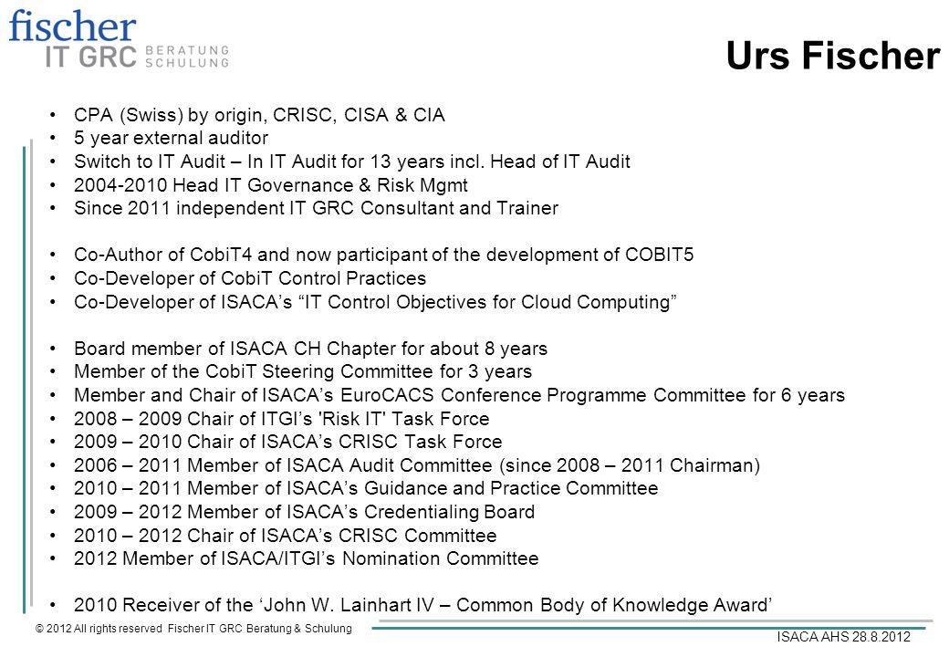 Urs Fischer CPA (Swiss) by origin, CRISC, CISA & CIA