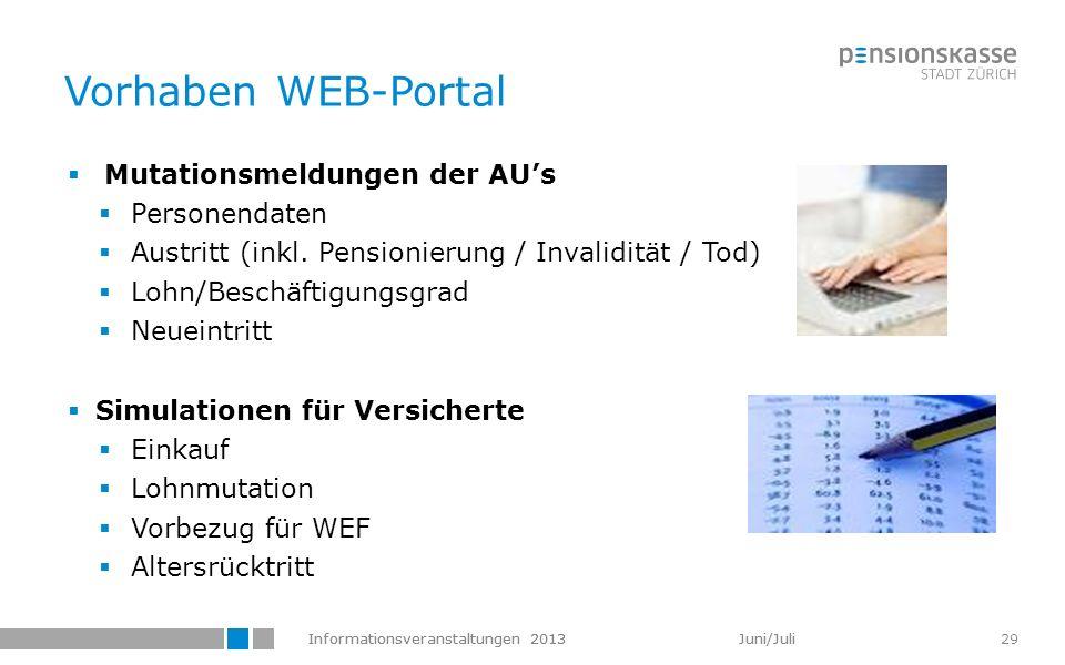 Vorhaben WEB-Portal Mutationsmeldungen der AU's Personendaten