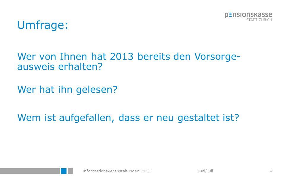 Umfrage: Wer von Ihnen hat 2013 bereits den Vorsorge-ausweis erhalten