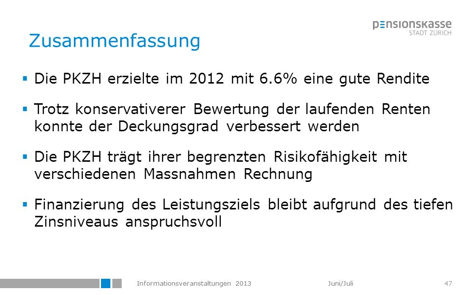 Zusammenfassung Die PKZH erzielte im 2012 mit 6.6% eine gute Rendite