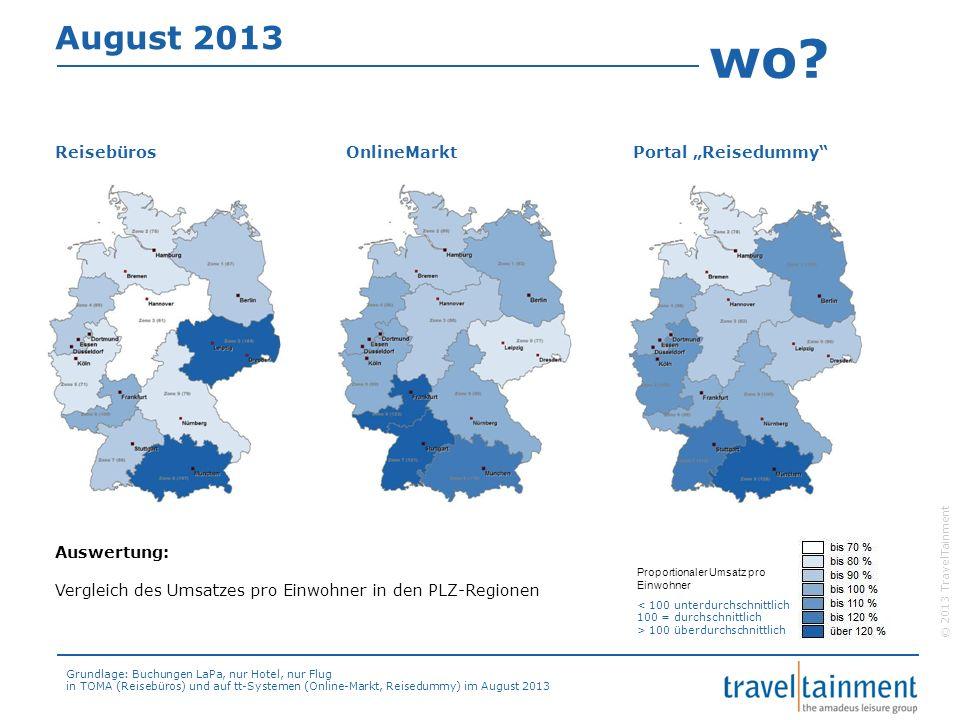 """wo August 2013 Reisebüros OnlineMarkt Portal """"Reisedummy Auswertung:"""
