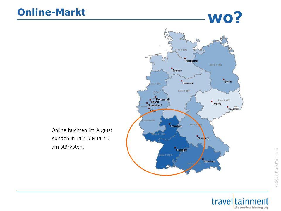 Online-Markt wo Online buchten im August Kunden in PLZ 6 & PLZ 7 am stärksten.