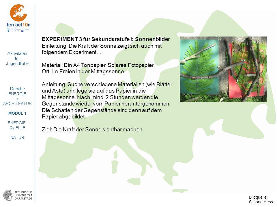 EXPERIMENT 3 für Sekundarstufe I: Sonnenbilder