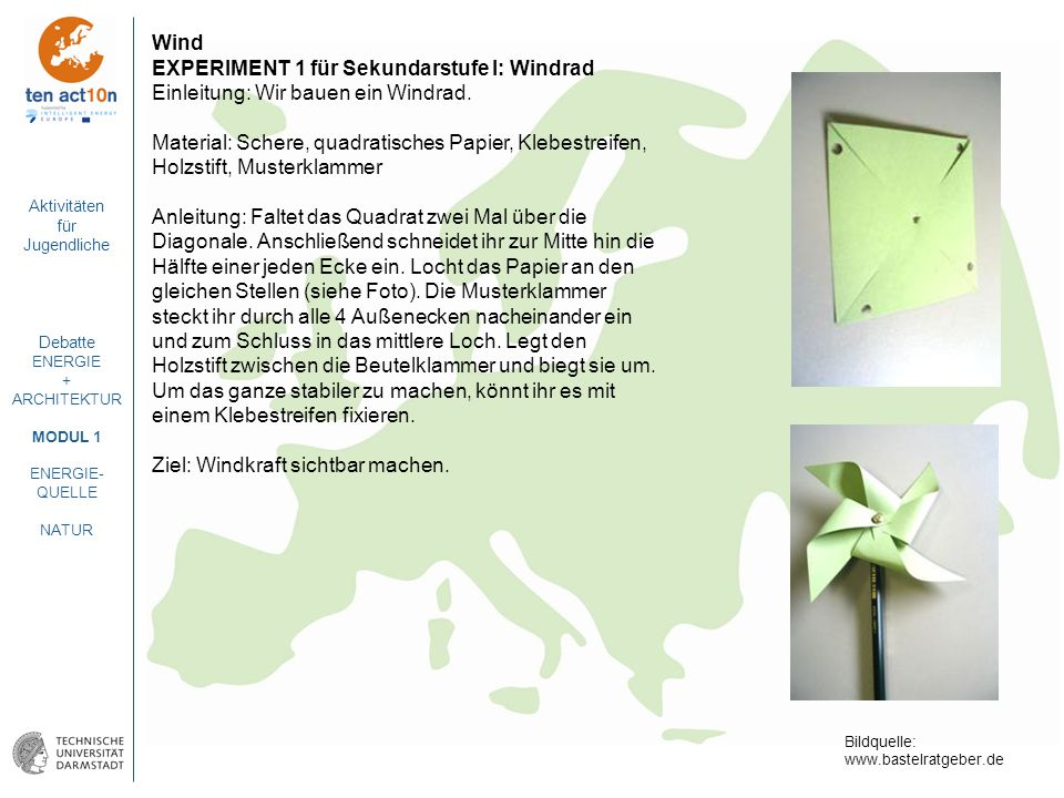 EXPERIMENT 1 für Sekundarstufe I: Windrad