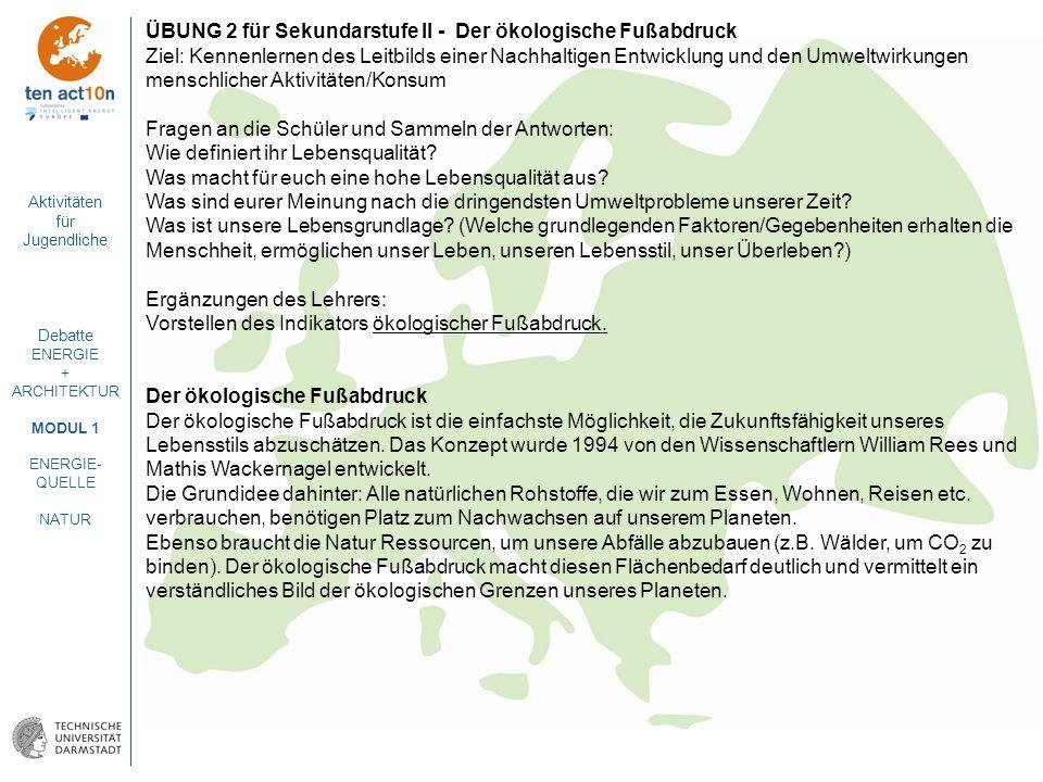 ÜBUNG 2 für Sekundarstufe II - Der ökologische Fußabdruck