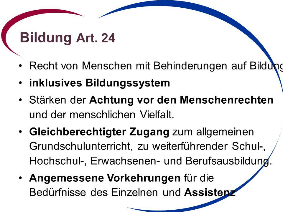 Bildung Art. 24 Recht von Menschen mit Behinderungen auf Bildung