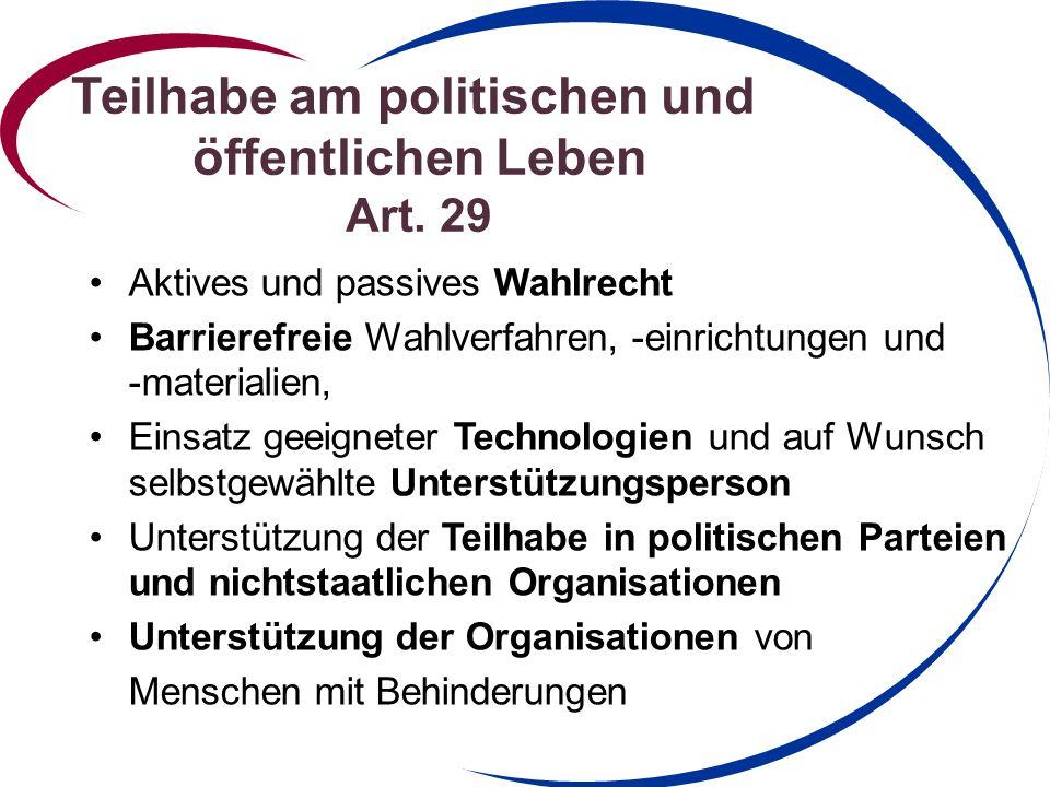 Teilhabe am politischen und öffentlichen Leben Art. 29