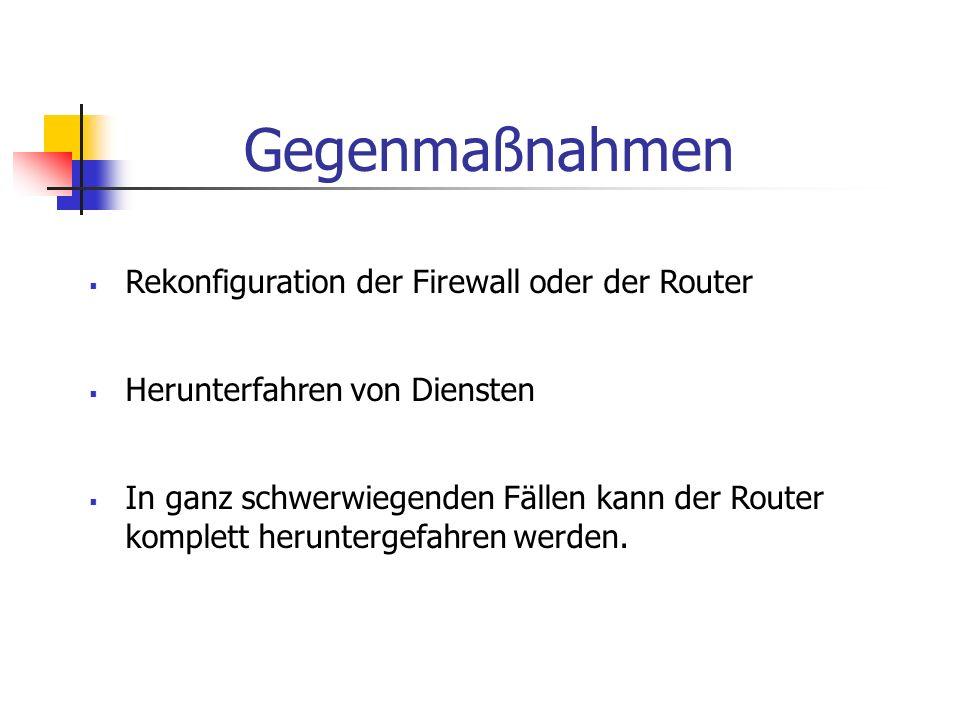 Gegenmaßnahmen Rekonfiguration der Firewall oder der Router