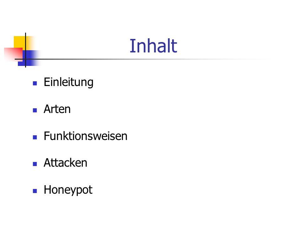 Inhalt Einleitung Arten Funktionsweisen Attacken Honeypot