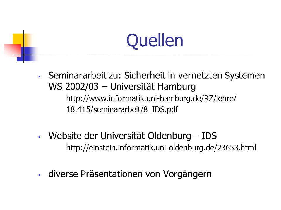 Quellen Seminararbeit zu: Sicherheit in vernetzten Systemen WS 2002/03 – Universität Hamburg. http://www.informatik.uni-hamburg.de/RZ/lehre/