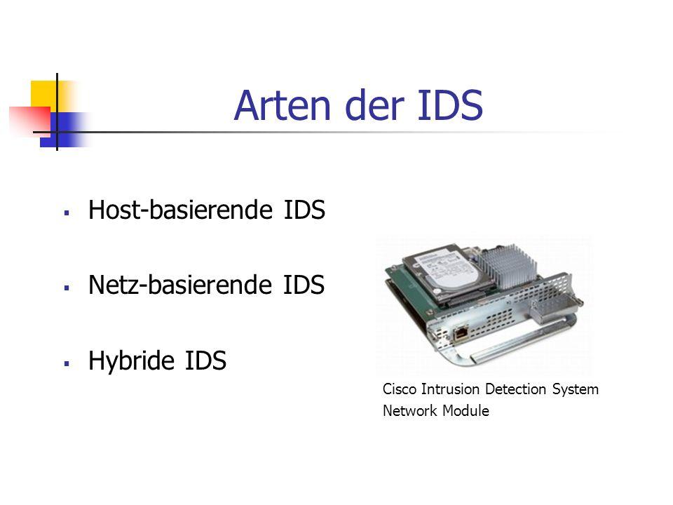 Arten der IDS Host-basierende IDS Netz-basierende IDS Hybride IDS