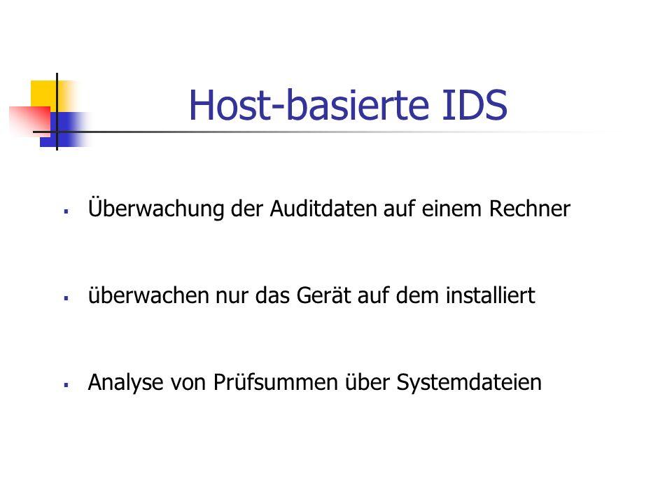 Host-basierte IDS Überwachung der Auditdaten auf einem Rechner