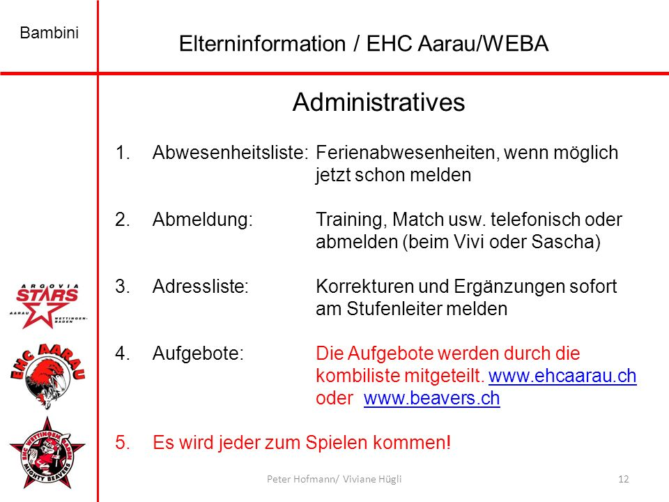 Administratives Elterninformation / EHC Aarau/WEBA