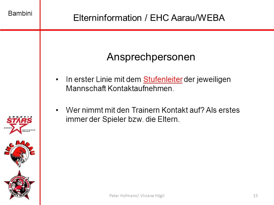 Ansprechpersonen Elterninformation / EHC Aarau/WEBA