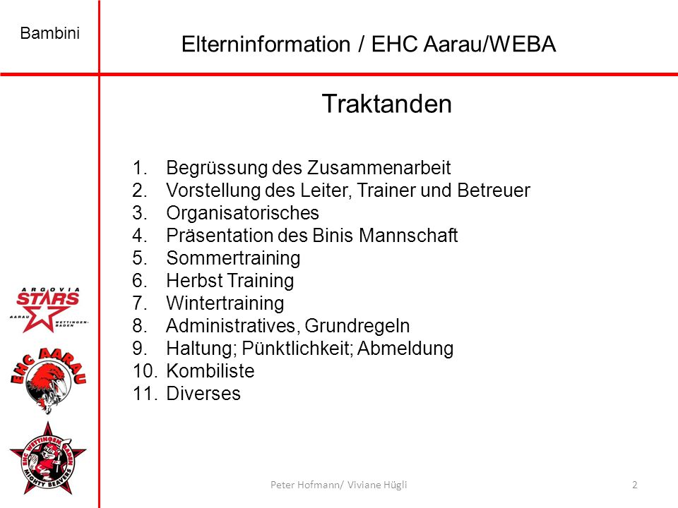 Traktanden Elterninformation / EHC Aarau/WEBA