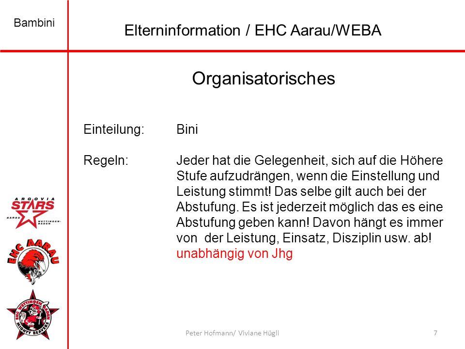 Organisatorisches Elterninformation / EHC Aarau/WEBA Einteilung: Bini