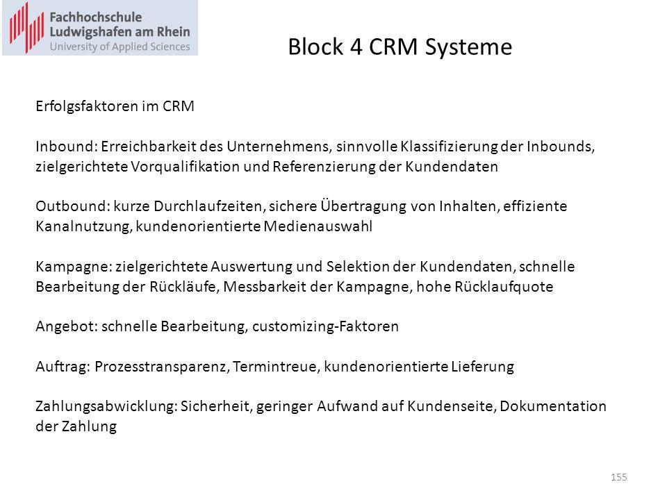 Block 4 CRM Systeme Erfolgsfaktoren im CRM