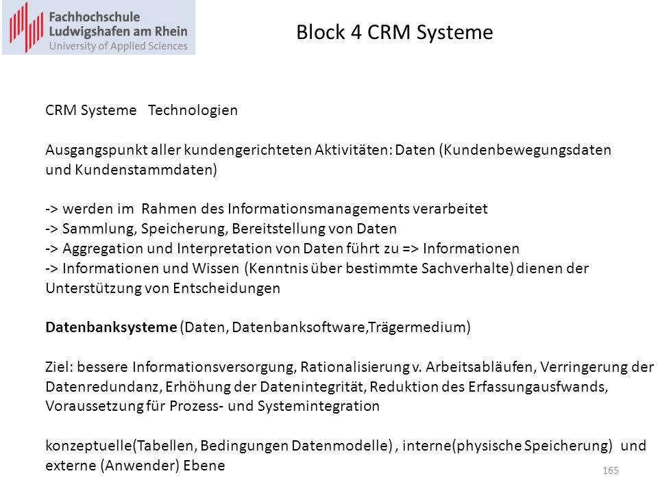 Block 4 CRM Systeme CRM Systeme Technologien
