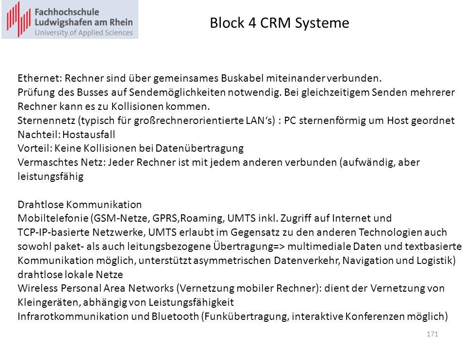Block 4 CRM Systeme Ethernet: Rechner sind über gemeinsames Buskabel miteinander verbunden.