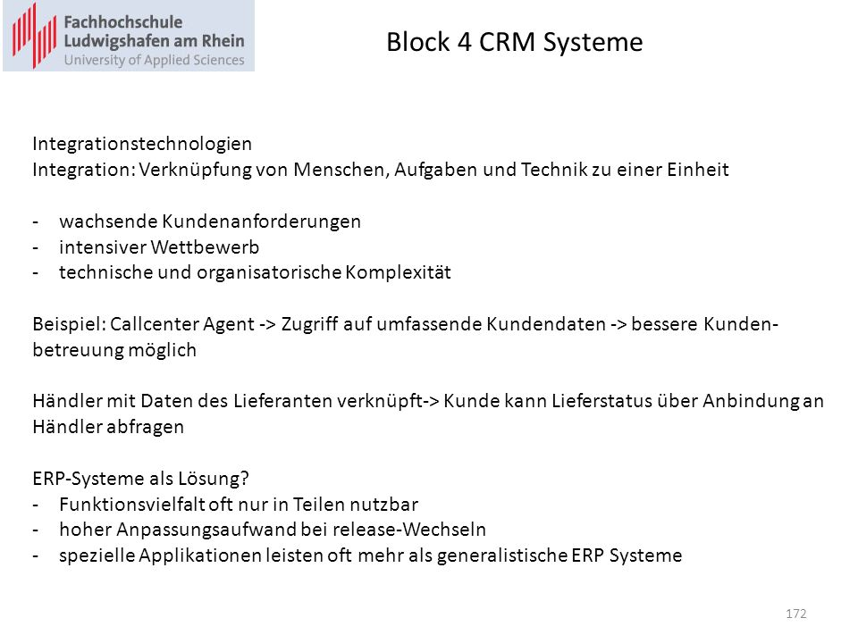 Block 4 CRM Systeme Integrationstechnologien