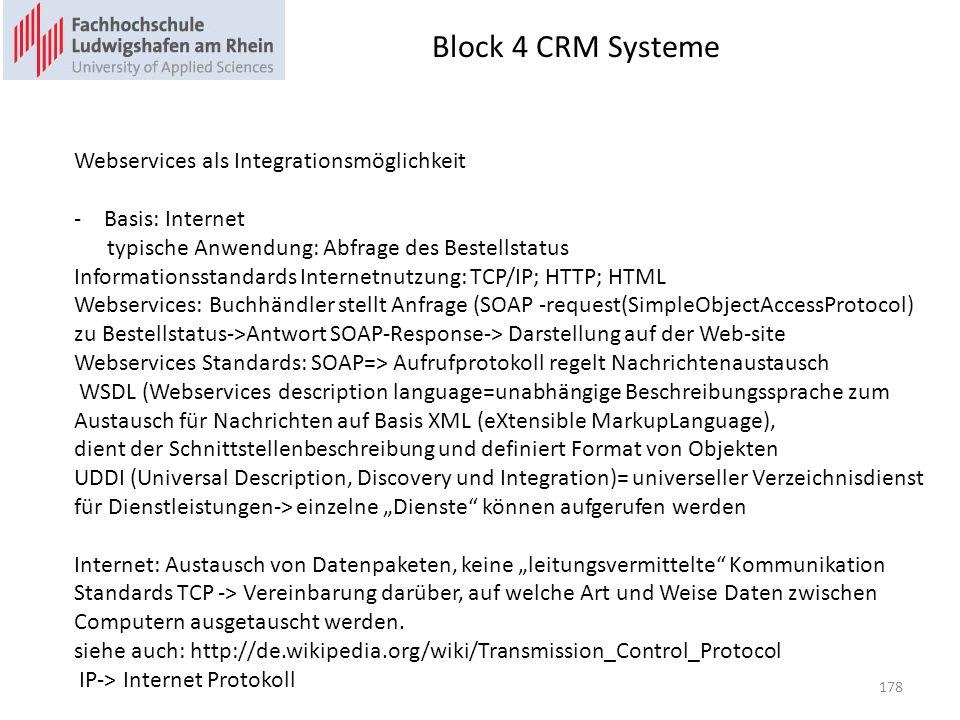 Block 4 CRM Systeme Webservices als Integrationsmöglichkeit