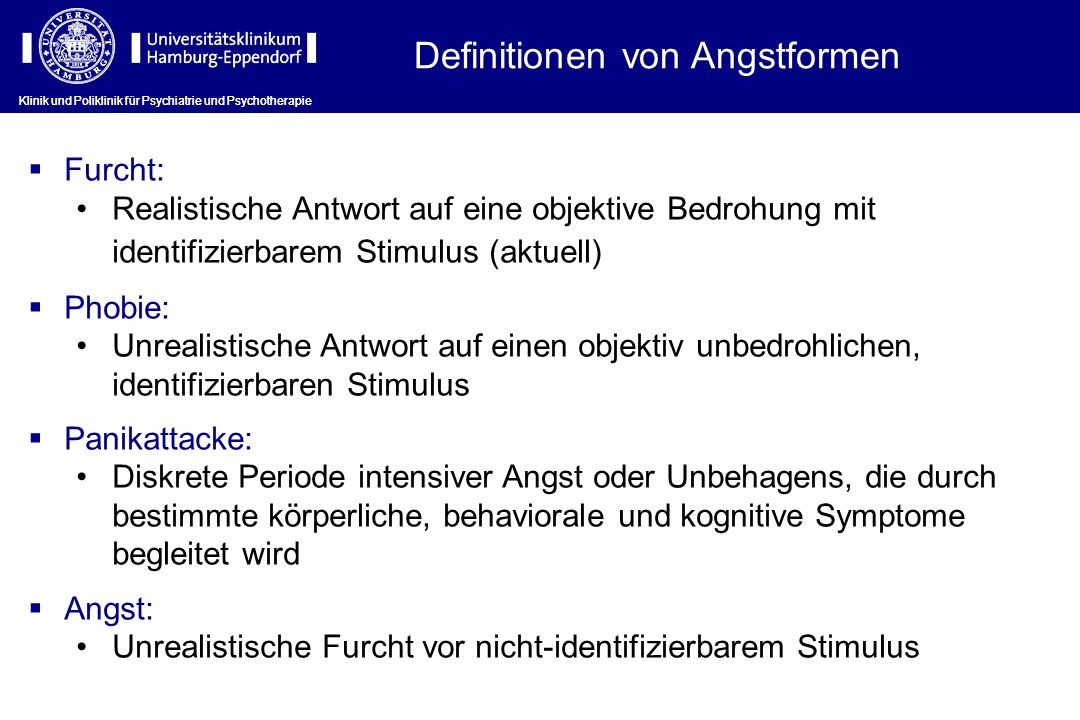 Definitionen von Angstformen