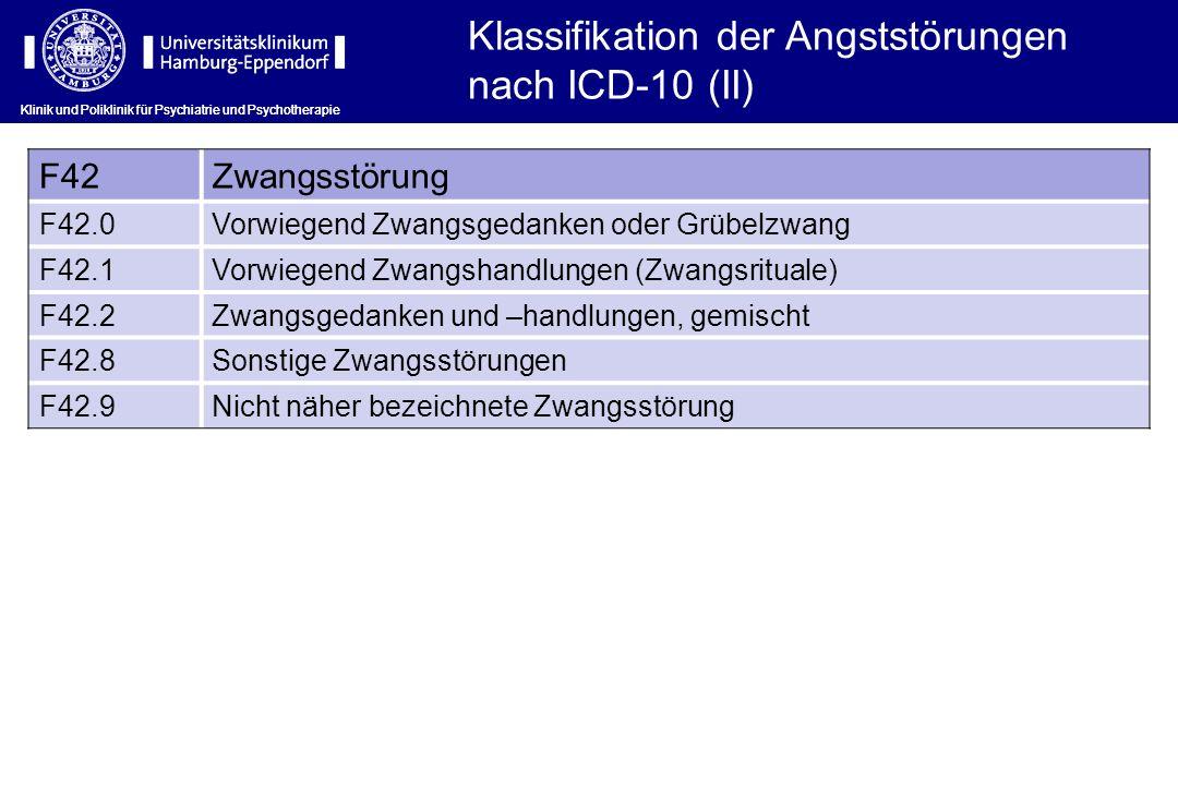Klassifikation der Angststörungen nach ICD-10 (II)
