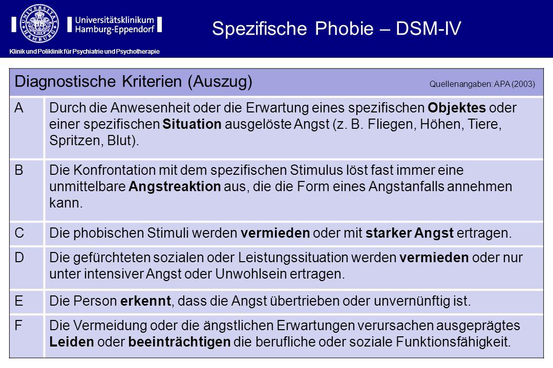 Spezifische Phobie – DSM-IV
