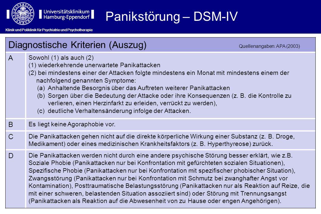 Panikstörung – DSM-IV Klinik und Poliklinik für Psychiatrie und Psychotherapie.