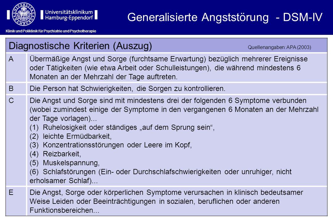 Generalisierte Angststörung - DSM-IV