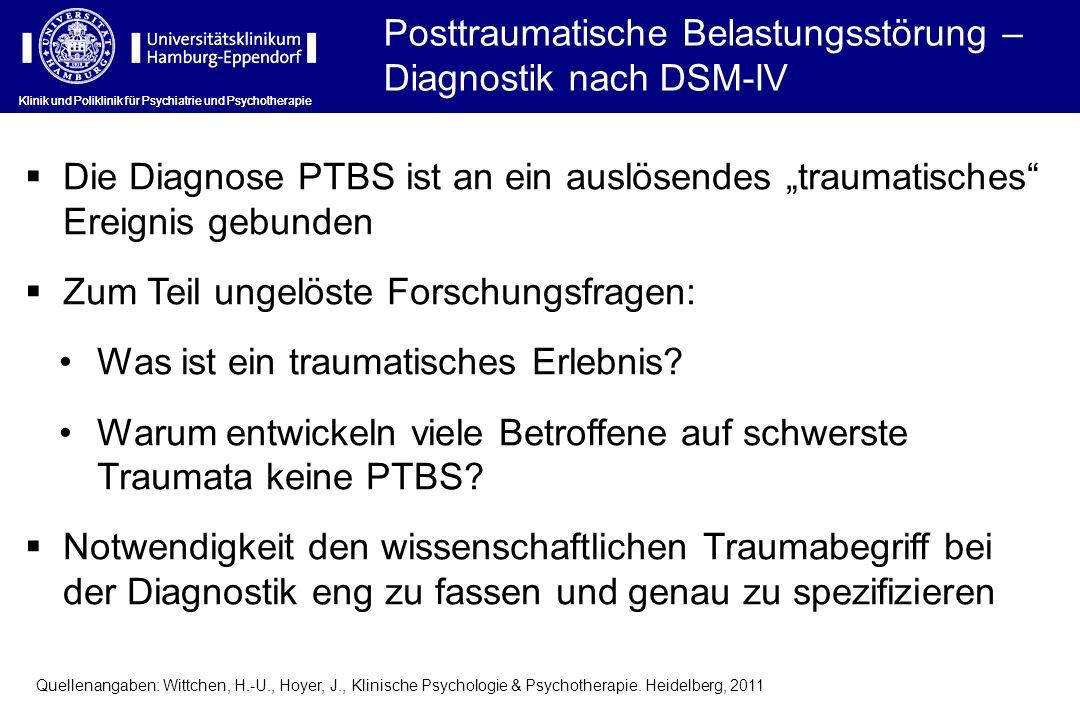 Posttraumatische Belastungsstörung – Diagnostik nach DSM-IV