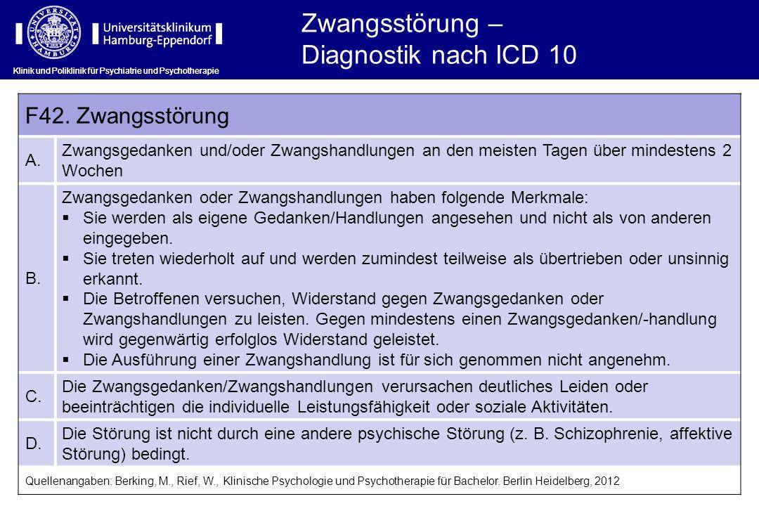Zwangsstörung – Diagnostik nach ICD 10 F42. Zwangsstörung