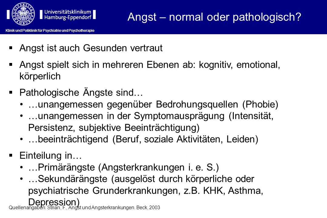 Angst – normal oder pathologisch