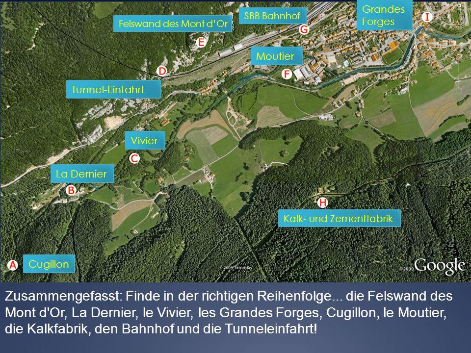 Grandes Forges. SBB Bahnhof. Felswand des Mont d'Or. Moutier. Tunnel-Einfahrt. Vivier. La Dernier.