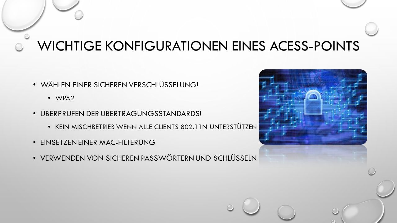 Wichtige konfigurationen eines acess-points
