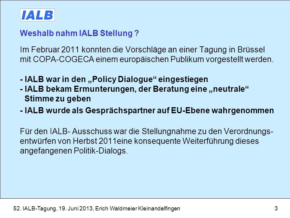 Weshalb nahm IALB Stellung