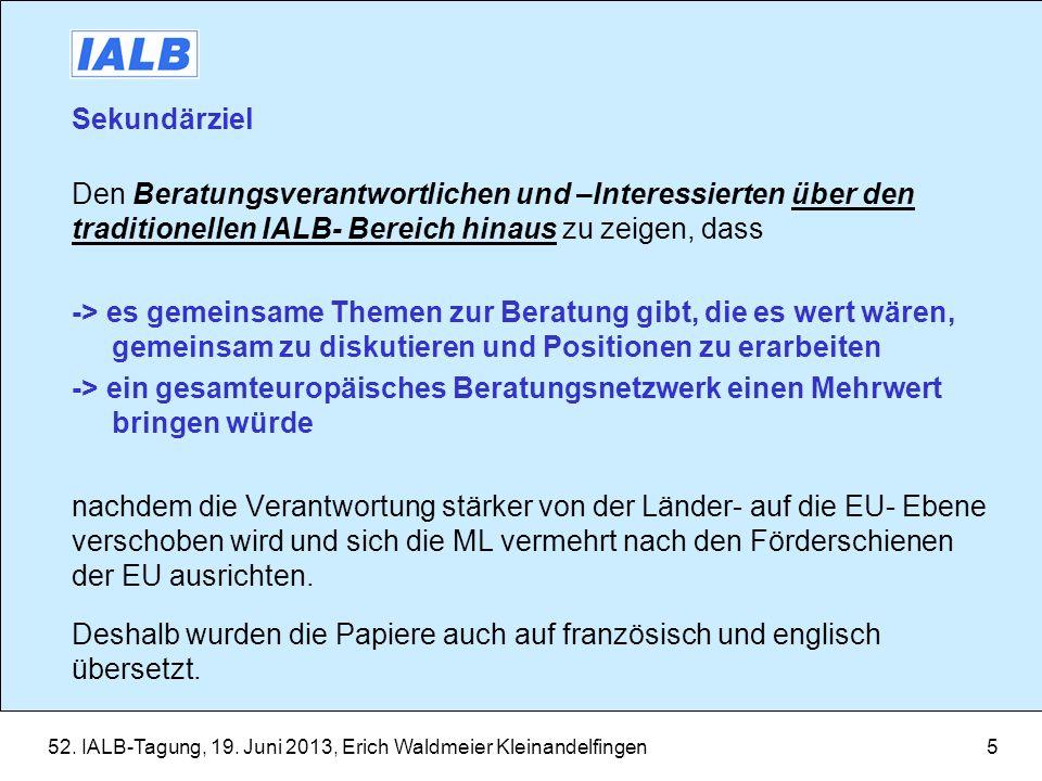 Sekundärziel Den Beratungsverantwortlichen und –Interessierten über den traditionellen IALB- Bereich hinaus zu zeigen, dass.