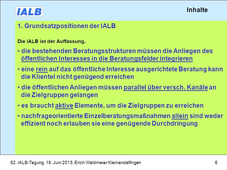 1. Grundsatzpositionen der IALB