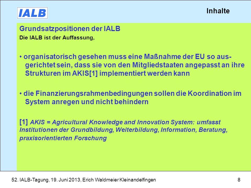 Grundsatzpositionen der IALB