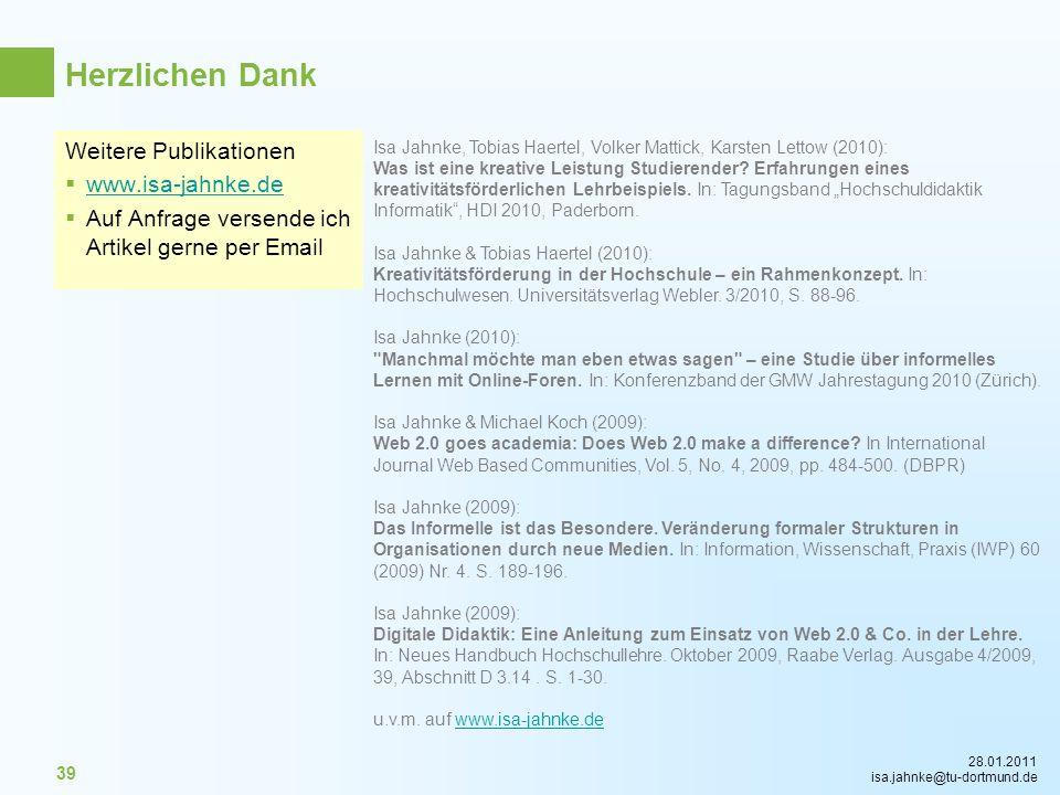 Herzlichen Dank Weitere Publikationen www.isa-jahnke.de