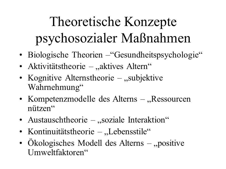 Theoretische Konzepte psychosozialer Maßnahmen
