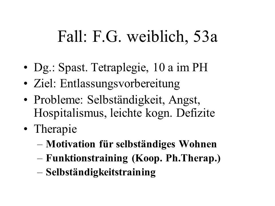 Fall: F.G. weiblich, 53a Dg.: Spast. Tetraplegie, 10 a im PH