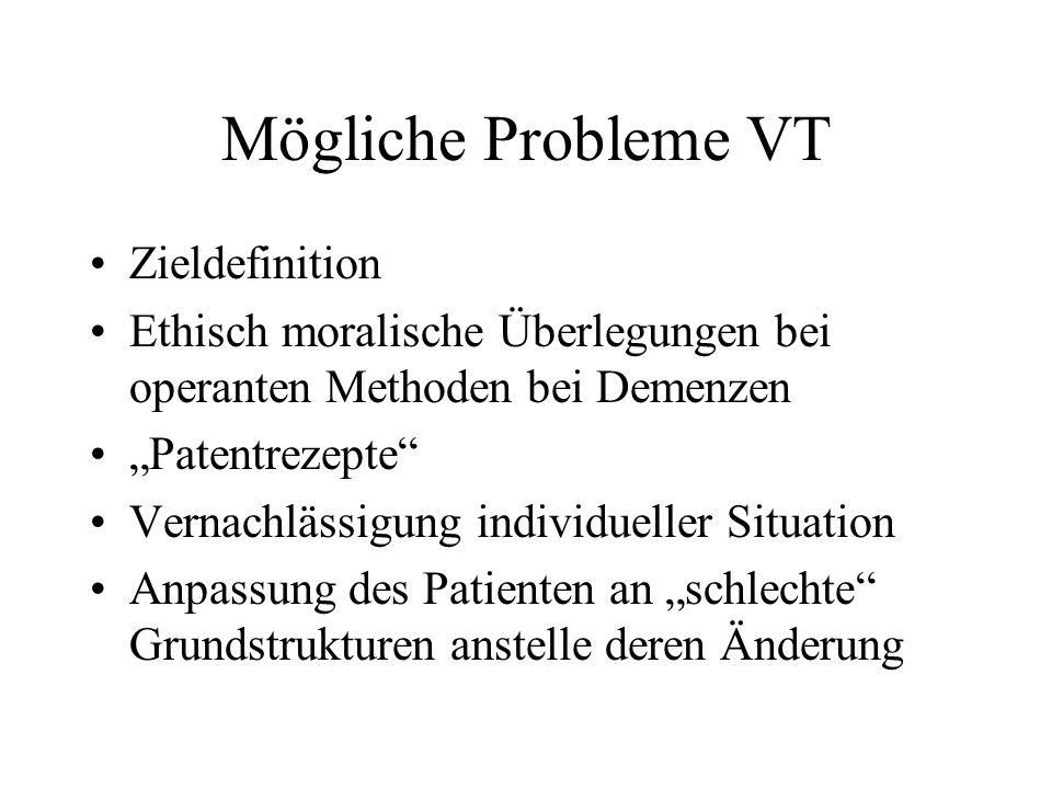 Mögliche Probleme VT Zieldefinition