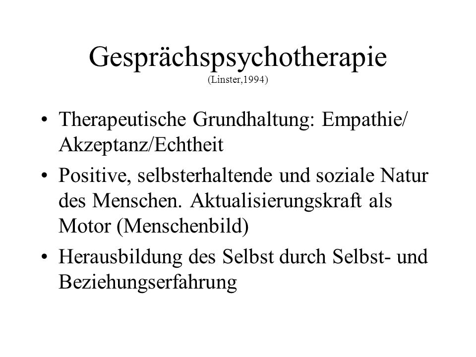 Gesprächspsychotherapie (Linster,1994)