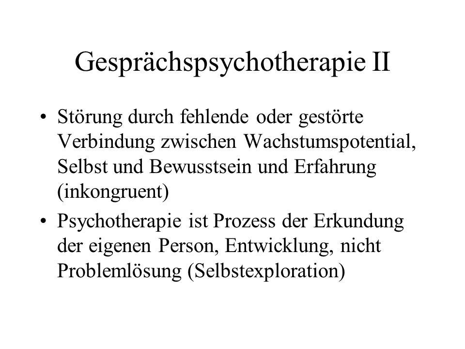Gesprächspsychotherapie II