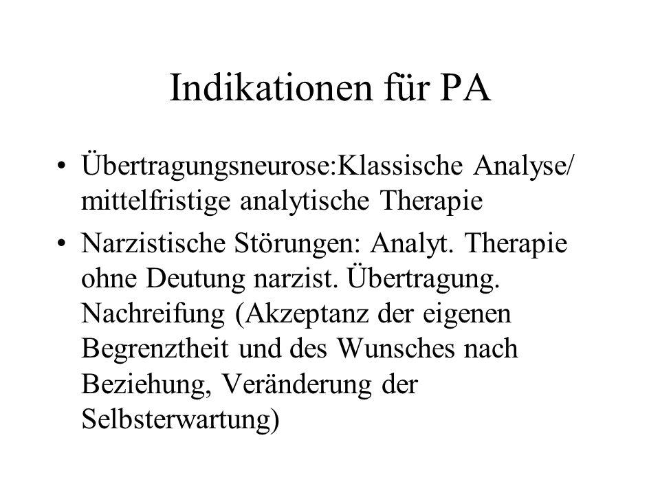 Indikationen für PA Übertragungsneurose:Klassische Analyse/ mittelfristige analytische Therapie.