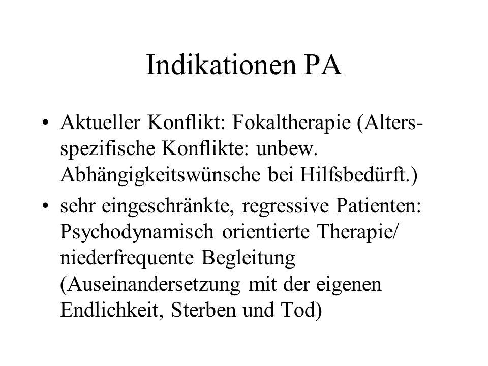 Indikationen PA Aktueller Konflikt: Fokaltherapie (Alters-spezifische Konflikte: unbew. Abhängigkeitswünsche bei Hilfsbedürft.)
