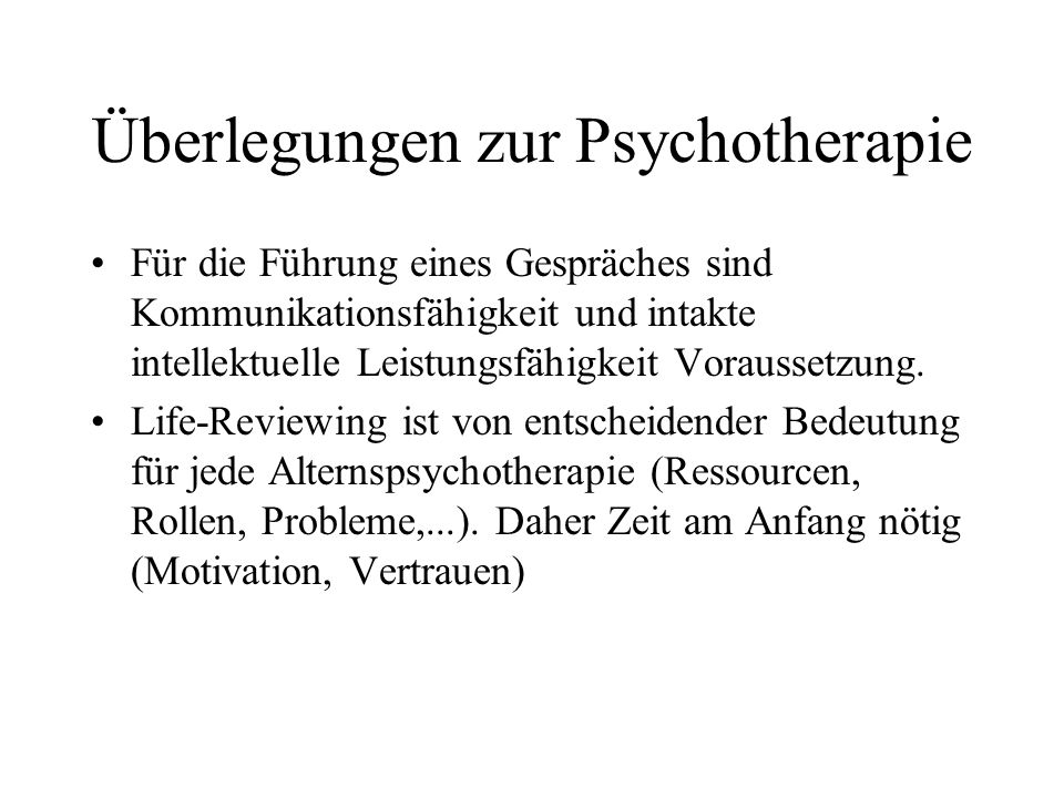 Überlegungen zur Psychotherapie