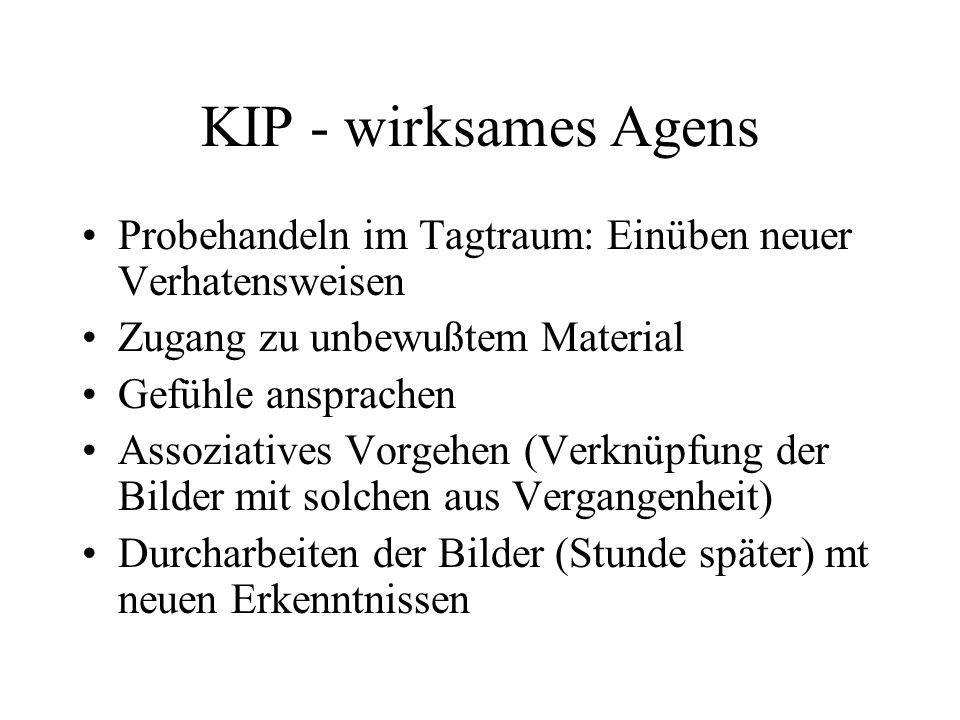 KIP - wirksames Agens Probehandeln im Tagtraum: Einüben neuer Verhatensweisen. Zugang zu unbewußtem Material.
